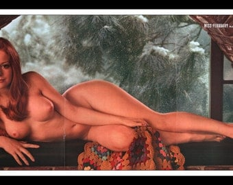 """Mature Playboy February 1971 : Playmate Centerfold Willy Rey Gatefold 3 Page Spread Photo Wall Art Decor 11"""" x 23"""""""