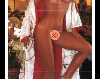 "Mature Playboy December 1980 : Playmate Centerfold Terri Welles Gatefold 3 Page Spread Photo Wall Art Decor 11"" x 23"""