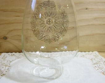 "Vintage 8 1/2"" Tall Clear Glass Hurricane Shade * Glass Chimney For Oil Lamps * 2 1/2"" Fitter"