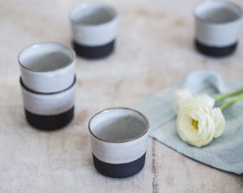 Ceramic Espresso Cup, Coffee Lovers Gift, Black And White Espresso Cup, Ceramic Espresso Cups, Sake Cups, Ceramic Coffee cups, Wedding Gift