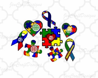 Autism Awareness Monogram Frames SVG, DXF, EPS,Png Instant   Downloadcutting files for use with Silhouette Studio and Cricut Design Space.