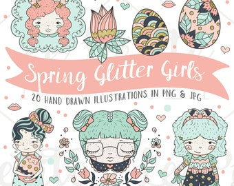 Spring Fashion Girls Clip Art Set, Navy Blush Pink Gold Mint, Wedding Party Clip Art, Party Graphics, Easter Clip Art, Planner Clip Art Cute