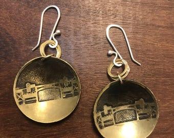 Burnside Bridge Earrings, Made in Oregon, Bridges of Portland, Brass Etched Earrings, Small Handmade Earrings