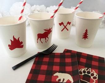 Party Cups - Lumberjack Baby Shower - Lumberjack First Birthday - Lumberjack Birthday - Woodland Animals - Buffalo Plaid - Baby Shower