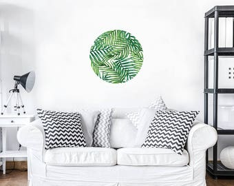 Pattern Printed Wall Fabric Tropical Plants Wall Sticker Home Decor