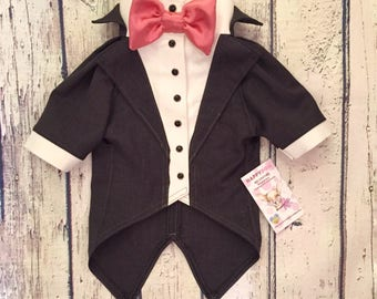 Dark grey dog tuxedo with pink bow tie Custom made dog wedding attire Evening dog outfit Swallow-tailed coat for dog Birthday dog costume