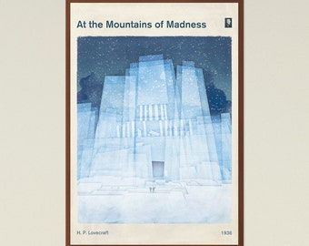 At the Mountains of Madness, H. P. Lovecraft - Large Book Cover Poster, Literary Gift, Gothic Sci Fi Art, Cthulhu Mythos, Instant Download