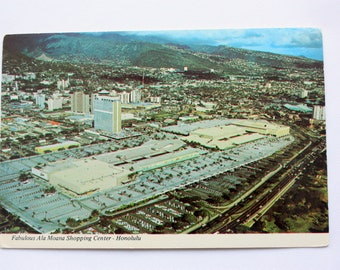 Ala Moana Shopping Center Honolulu Hawaii Postcard  / Honolulu Postcard / Vintage shopping/ vintage store / Continental Card of Hawaii