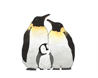 Penguin Family Drawing - Arctic Animal Nursery Art Print, Polar Animals