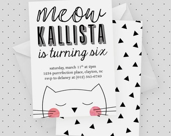Cat Party Invitation | Cat Birthday Party, Kitten Party, Watercolor, Pink, Black and White, Modern, Meow