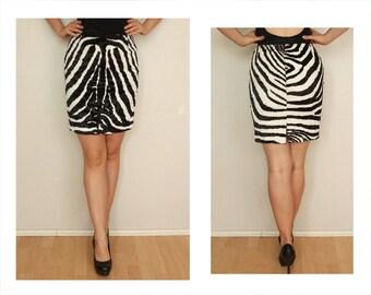 Vintage skirt, zebra print skirt, black and white