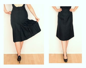 Knee length skirt, polka dot skirt, black on black skirt, High Waisted Skirt