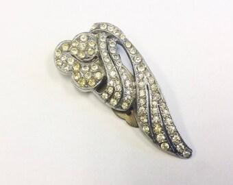 Vintage Art Deco paste dress clip or fur clip. Vintage 1920s sparkling rhinestone clip.