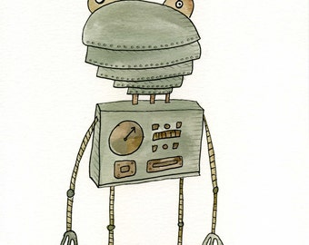 Robot Frog Drawing/Illustration/Watercolor Painting.  Original (8 x 10) OR Print (5 x 7 or 8 x 10)