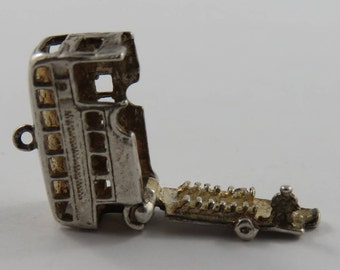 Double Decker Bus Mechanical Sterling Silver Vintage Charm For Bracelet