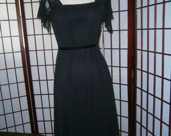 Women's Sheer Black Dress -Cap Sleeves and under slip