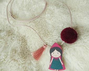 Little red riding hood necklace with tassel and pom pom fairytale character fable figure