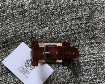Leather unisex bracelet, wrist wrap, wrist band 'Brown'