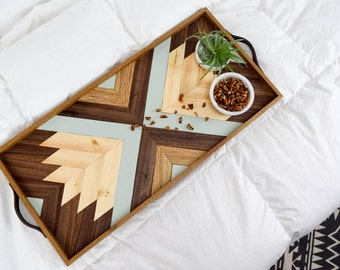 Wood Tray with Leather Handles - Modern Serving Tray - Breakfast Tray - Modern Wood Tray - Decorative Tray - Wood Wall Art - Gift for Him