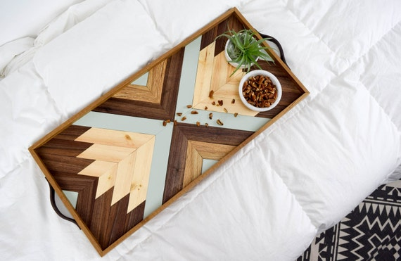 Wood tray with leather handles modern serving tray - Monoprix art de la table ...
