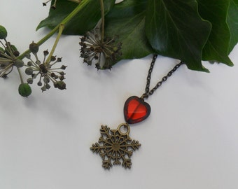 Winter Heart Necklace in Antique Bronze with Red Glass Hearts - Necklace - Snowflakes - Glass - Yule - Christmas - Winter
