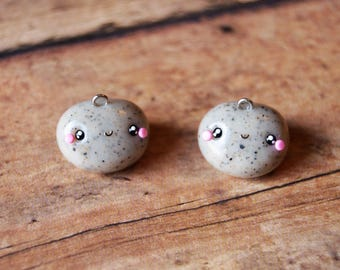 Pet Rock Charm, Kawaii Rock, Clay Charm, Kawaii Charm, Pet Rock Necklace, Rock Neclace, Rock Charm, Stone Charm