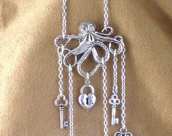 Octopus Pendant with lock and keys, steampunk necklace, pirate steampunk necklace, ode to Davy Jones necklace, steampunk nautical