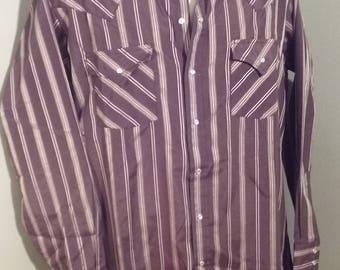 Vintage ELY CATTLEMAN // Western Cowboy Snap Shirt // Large // Brown Striped