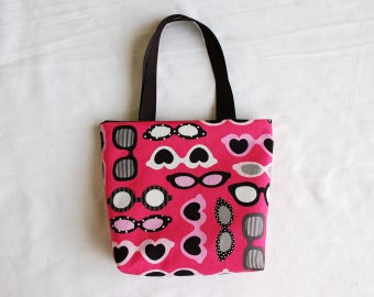 Fabric Gift Bag/ Small Tote/ Hostess Gift Bag- Sunglasses on Pink