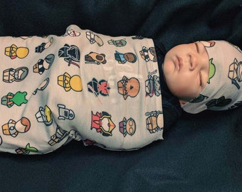 Star Wars Swaddle Blanket or Swaddle Sack with Matching Headband or Beanie, Newborn Baby Boys Girls Coming Home Outfit Set Gift Baby Shower