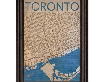 Toronto Wood Engraved 2D City Map - 18x24 - Laser Cut Map Decor