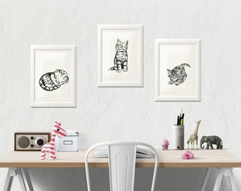 Cat Lover Gift, Kitten Print, Set of 3, Three Little Kittens, Pets Lovers Gift, Kids Room Decor, Cat Decor, Printable Coloring Pages
