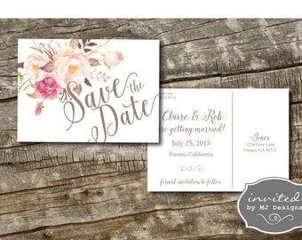 Save the Date, Floral Save the Date, Postcard Save the Date