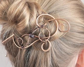 Hair Slide, Copper Hair Clip, Purple Crystal Hair Stick, Hair Pin, Hair Barrette, Hair Accessories for Women, Gift for Mom, One Of A Kind