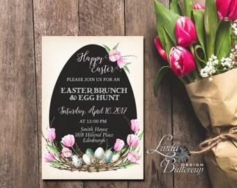 Easter printable invitation, dinner lunch brunch Easter invitation ,Easter egg hunt and brunch invitation, Chalkboard Easter Invitation
