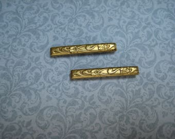 Victorian Bar Pins Brooches, Set of 2, Antique Vintage, Etched, Edwardian, Antique Bar Pins, Minimalist