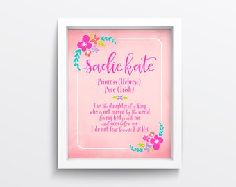 Girl Name Meaning Print - Personalized