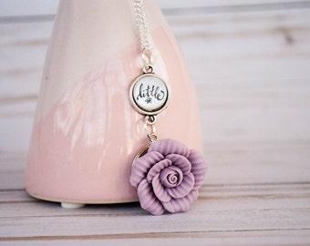 St Thérèse Little Flower Necklace, Unusual Catholic Saint Necklace, Purple Ceramic Flower Necklace, 602014