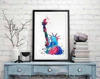 Statue of Liberty, Original Watercolor Painting, Illustration, New York Travel Illustrator, Modern Wall art Home Decor, Holiday Gift 7.5x11