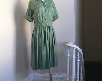 Mint Green Vintage Silk Shirt Dress by Langley Hall