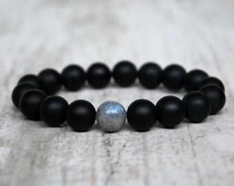 Minimalist men bracelet Agate Labradorite beads Trendy jewelry Men gift Bracelet for groom Father gift Birthday friend gift beaded bracelet