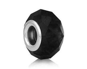 2 Black Faceted Glass European Big Hole Charm Bead