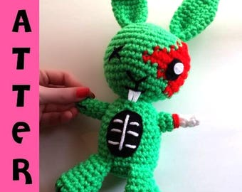 Crochet Pattern - Amigurumi Zombie Bunny - Crochet Plush Pattern - Digital Download PDF