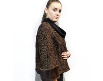 Real Astrakhan Fur with Mink Fur Jacket F427