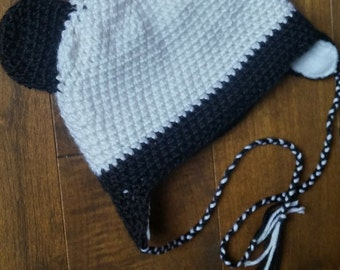Tuque panda crochet for baby, child or adult
