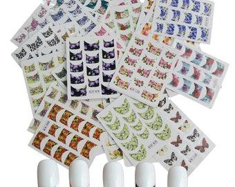 600+ Flower French Tip Water Slide Nail Art - French Tip Nail Tattoo - Flower Nail Art (44 sheets/600+ Decals)