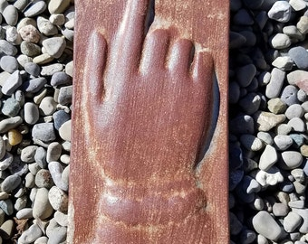 19th Century Tombstone Impression: Pointing to Heaven - Fired clay for indoor / outdoors - Historical Impression from Gravestone