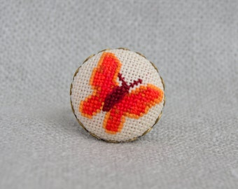 Red butterfly ring Embroidered jewelry Ring handmade Red butterfly Cross stitch ring Gift for her Red jewelry Hand embroidery Women gift