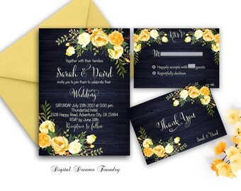 Gold Navy Blue Wedding Invitation Floral Wedding Invitation Printable Boho Wedding Invitation Set Romantic Wedding Invitation Rustic Wedding