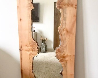 full length live edge mirror, full length mirror, black walnut mirror, full length wall mirror, full length standing mirror, standing mirror